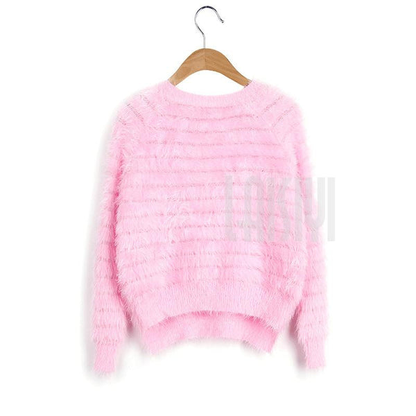 Winter Crew Neck Warm Winter Women Mohair Sweater Pullover Solid Women Sweaters