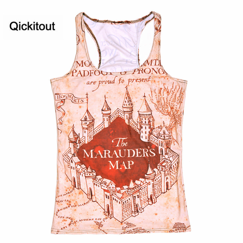 New Women Tanks Marauders Map/The Hobbit Map Sexy Cover Tops Adventure Time Camisole