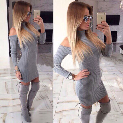 Rib Cotton Winter Dress Women Turtleneck Off The Shoulder Sexy Dresses Full Sleeve Elegant Bodycon Sweater Dress