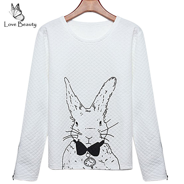 Women Hoodies Lovely Animal Cartoon Printed Long Sleeve Casual Sweatshirt Rabbit Zipper Pullovers Sweatshirt