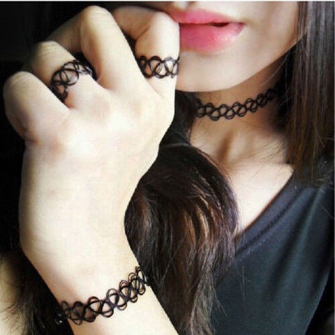 1 Set Summer Collares Women Vintage Stretch Tattoo Choker Set Retro Gothic Punk Elastic Adjustable