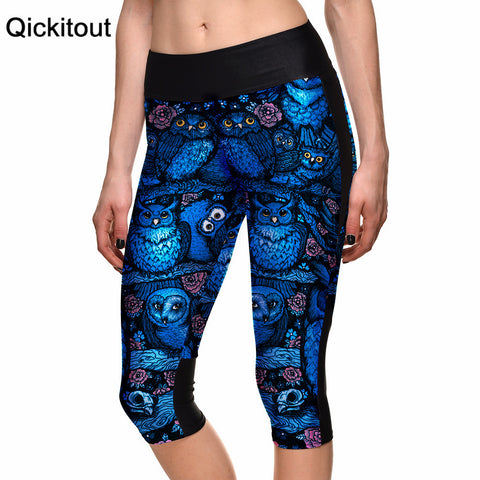 Blue Owl Digital Print Women High Waist Side Pocket Phone Pant Capris Legging
