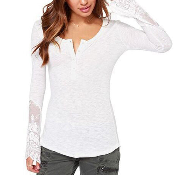 Long Sleeve T Shirt Lace Patchwork Solid O-Neck Cotton T-shirt Casual Style Tees Plus Size