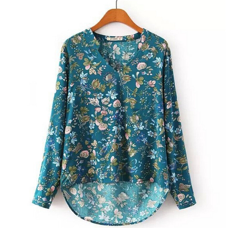Casual Printed Blouses Elegant Vintage V-Neck Long Sleeve OL Shirt Ladies