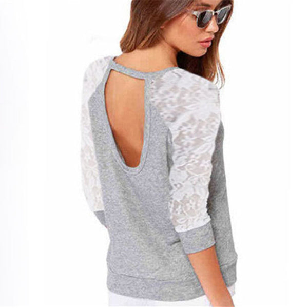Autumn and Spring Women Lace Crochet Patchwork Backless Hoodies Long Sleeve Casual Sweatshirt Pullovers