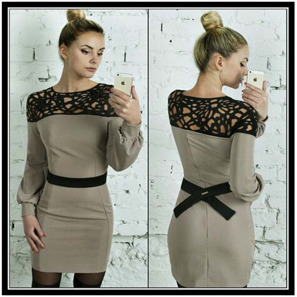 S-XL Hollow Out Patchwork Dress Women Spring Casual Full Sleeve Bodycon Party Dresses Lady Sexy Plus Size Office Dress