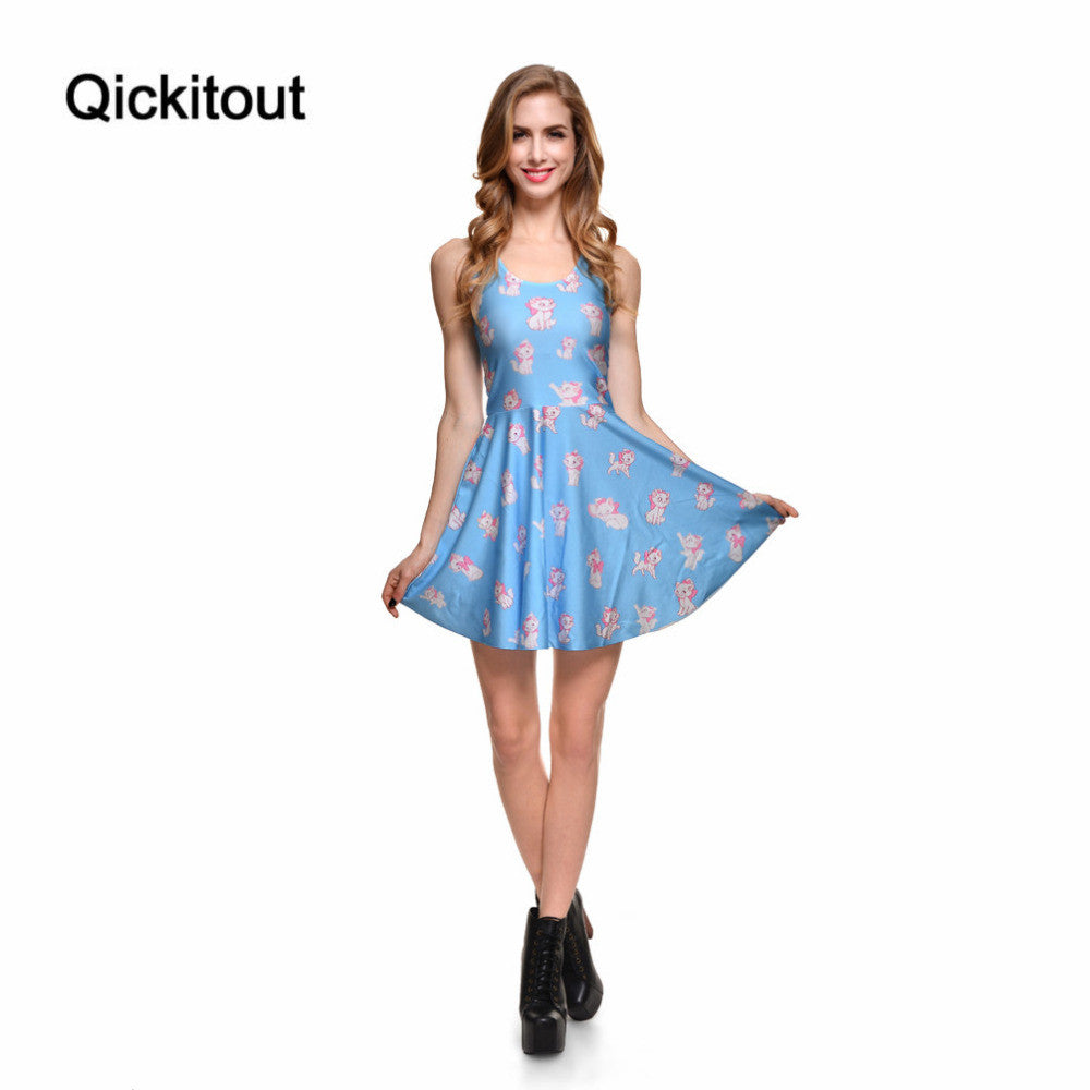 Brand New Sexy Women Casual Dress Marie Reversible Skater Dress Pleated Print Dresses
