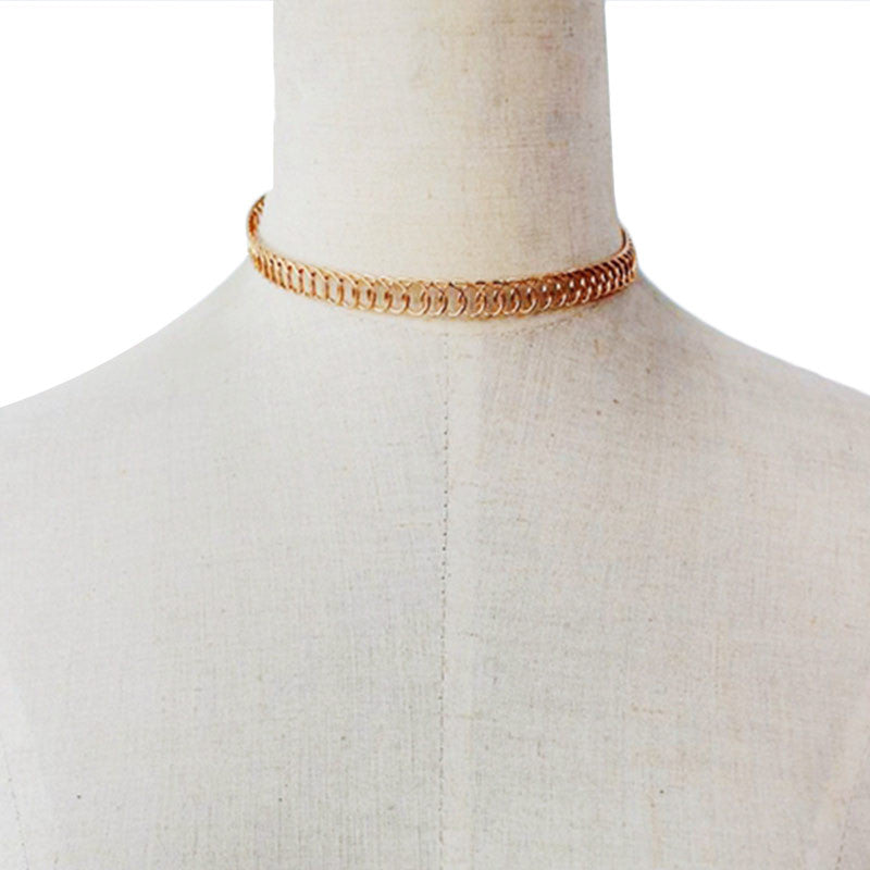 European Style Stylish Simple Punk Zinc Alloy Gold/Silver Plated Wrap Choker For Women Girls