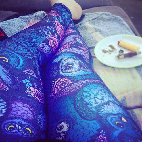 Blue Midnight Owl Leggings Limited Digital Printed