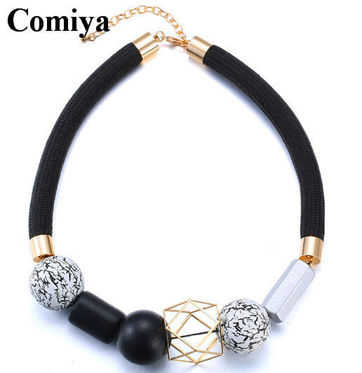 Ethnic Bohemian Black Rope for Women Geometric Vintage Choker Resin Wood Beads Jewelry