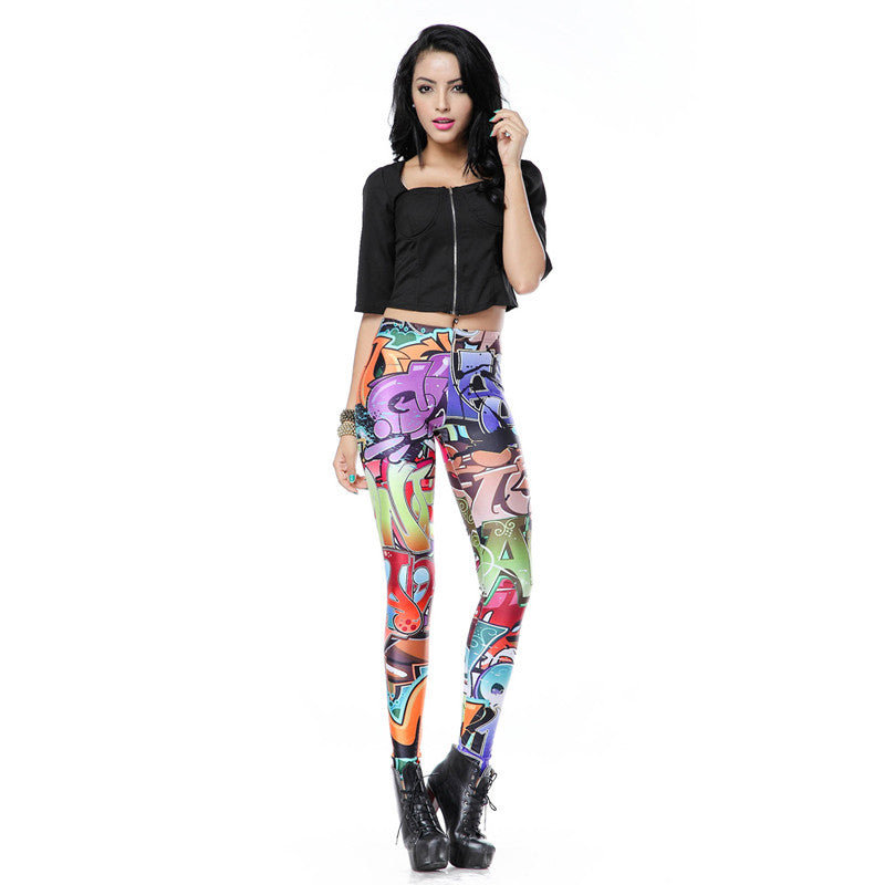 New Design Leggins Fashion Elastic Graffiti Spray Digital Legins Printed Women Leggings