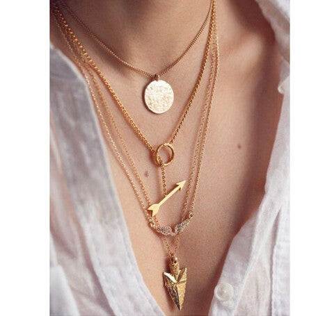 Summer Style 4 Layer Arrow Design Gold Choker Women Jewelry