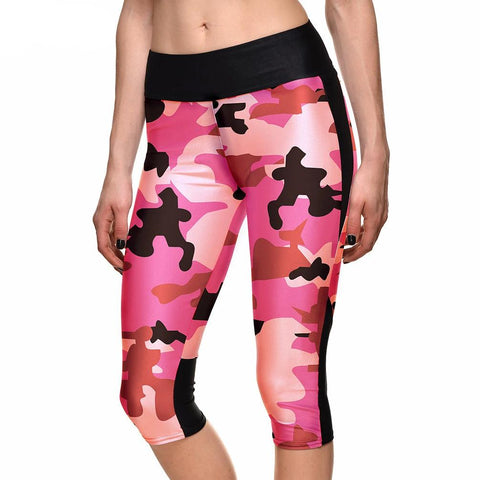 Women's Leggings Red Army Bright Camouflage Digital Print Women High Waist Side Pocket Phone Pant