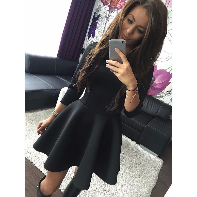 Women's 3/4 Sleeve Sexy Spring Women Dress Bodycon Ruffles O Neck Office Dresses Ladis Empire Plus Size