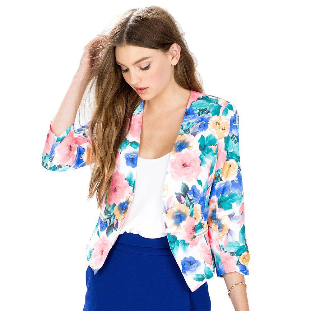Blazer Fall Spring Stylish Fashion Women Floral Print Three Quarter Sleeve Blazers