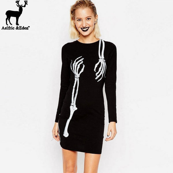 Skull Gothic Robe Women's Dresses Party Night Club Casual Dress