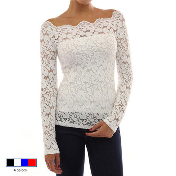 Summer Blouses Long Sleeve White Lace Blouse Shirt Off Shoulder Chiffon Shirts Women