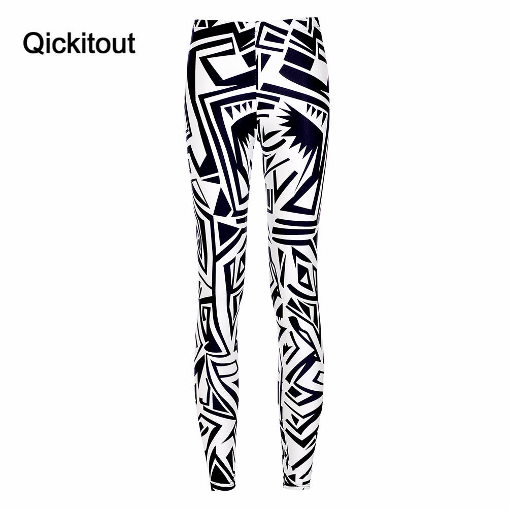 New Woman Leggings Fashion Irregular Graphics Digital Printing Slim Pencil Pants Jeggings Fitness Sports Legging