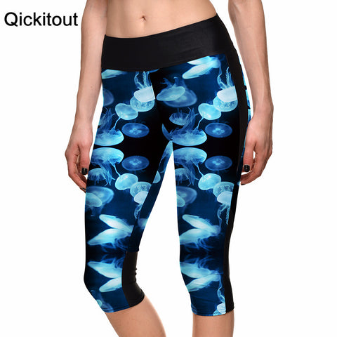 Benthos Blue Jellyfish Digital Print Women High Waist Side Pocket Phone Pant Capris Legging