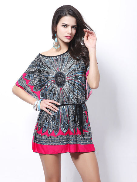 Retro Loose Ethnic Print Boho Skater Batwing Silk Short Sleeve Tunics Vintage Bohemian Dress