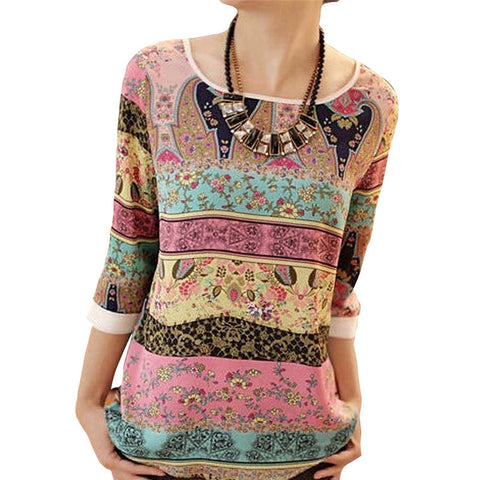 Chiffon Blouse Floral Print O-neck Three Quarter Sleeve Loose Chiffon Shirt Plus Size