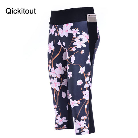 7 Point Pants Fashion Leggings Winter Bloom Digital Print High Waist Side Pocket Phone Pants