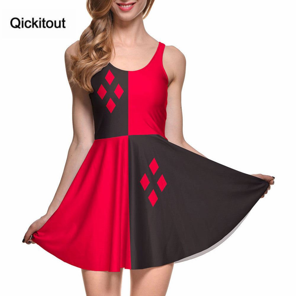 Fashion Women Digital Printing Herley Quinn Reversible Skater Dress