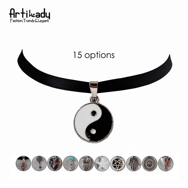 Black Velvet Choker with Charm Natural Crystal Collar for Women Jewelry