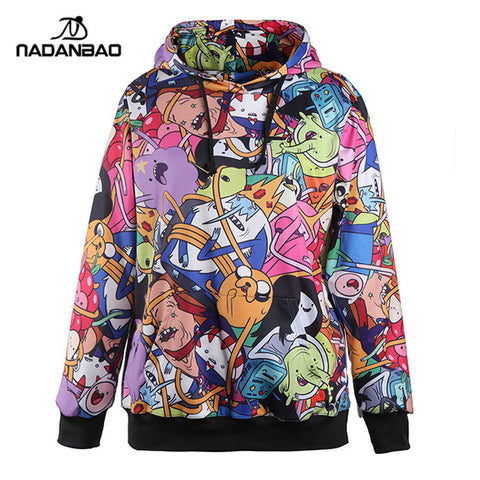 Adventure Time Printed Hooded Sweatshirt Women Moletom Sport Suit Hoodie Outside Woman Sudaderas
