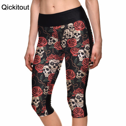Women's Legging Black Big Red Skull Digital Print Women High Waist Side Pocket Phone Pant