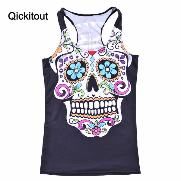 Summer New Tanks & Camis Ribs 3D Vest Tops Skull Bone Camisole Sexy Tank