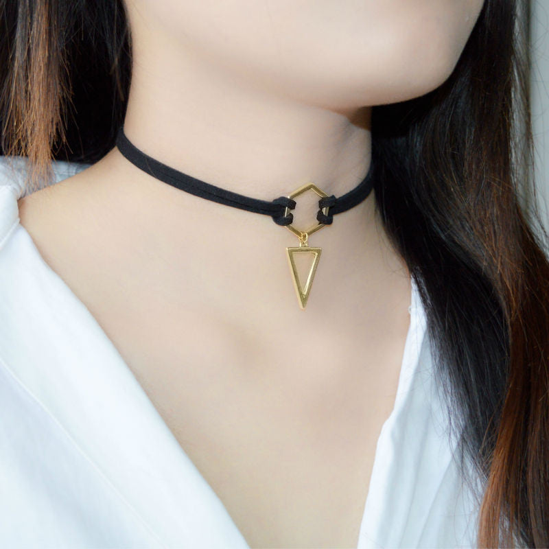 Black Leather Choker Wrap Gold Plated Geometry With Triangle For Women Girls