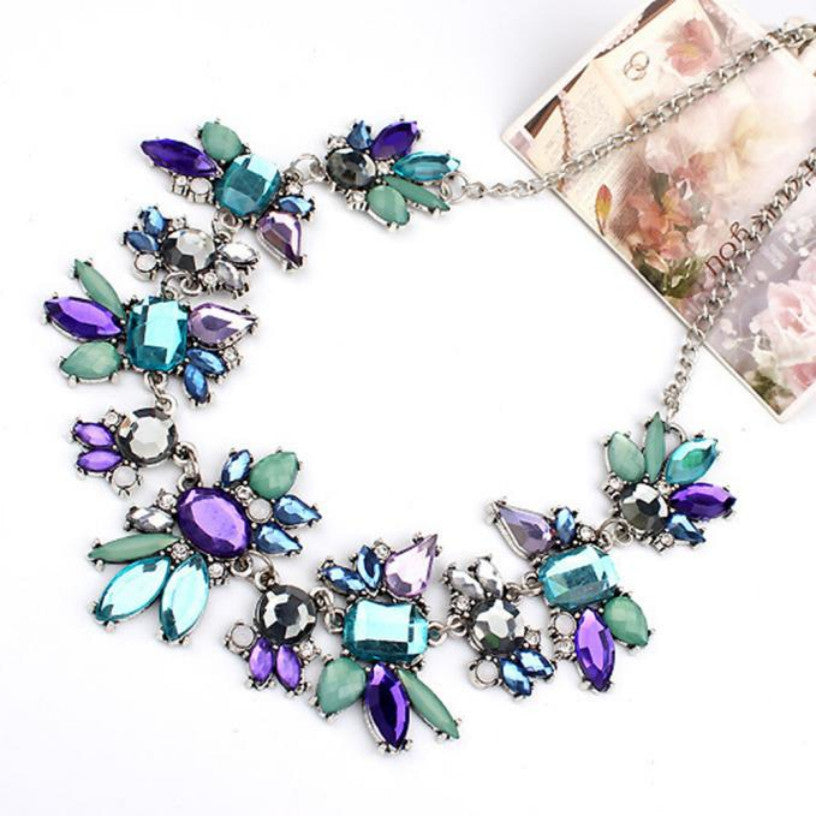 Delicate Flowers Chain Crystal Statement Necklaces & Pendants Jewelry