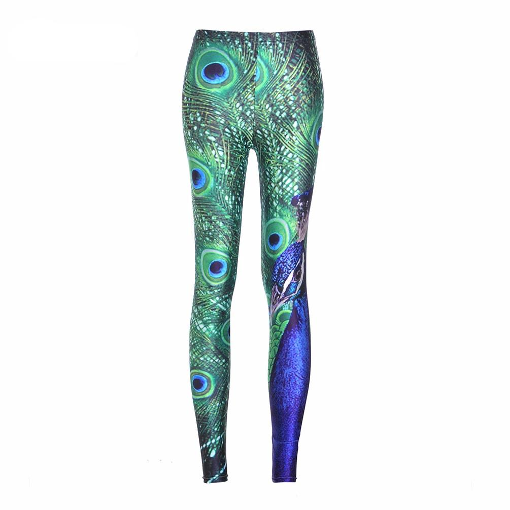 Sexy Lady Woman Stretch Fashion Leggings Peacock Print Slim Sports Pants Fitness Legging