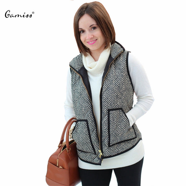 Big Pocket Design Winter Sleeveless Women Cotton Casual Ladies Puffer Herringbone Vest