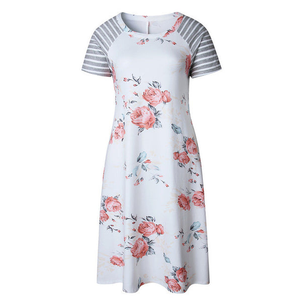 Summer 2017 Floral Print T-shirt Dress Female Short Sleeve O-neck Women Casual Loose Flower T-shirt Mini Dresses Vestidos