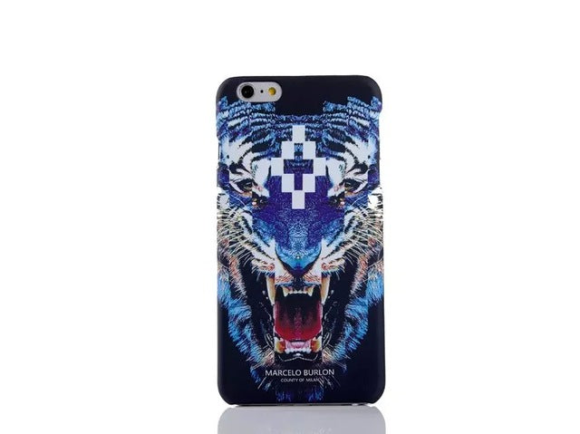 sito affidabile 3a0a1 5fb8d 2017 New For iPhone 7 Marcelo Burlon Cover Tiger Fox Skull PC Case For  iPhone 6 6S 7 Plus 5 SE Marcelo Case Back Phone Case