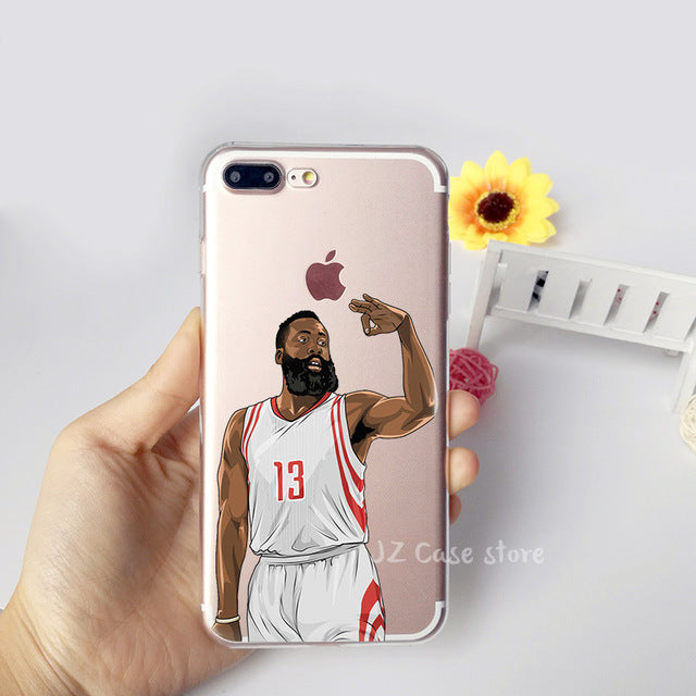 the best attitude b110d ab525 NBA Coque Jordan Curry James Kevin Durant Kobe Basketball Case for iphone 6  7 6s 8 plus X 5s 5 se Transparent Silicon TPU Fundas
