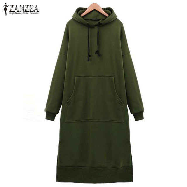 ZANZEA Women 2017 Spring Autumn Casual Loose Long Hoodies Sweatshirt Full Sleeve Fleece Split Hooded Dress Vestidos Plus Size