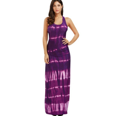 AZULINA Maxi Boho Dress Women Sleeveless Bohemian Tie-dye Illusion Print Long Summer Dress Beach Dress Ladies vestidos de festa