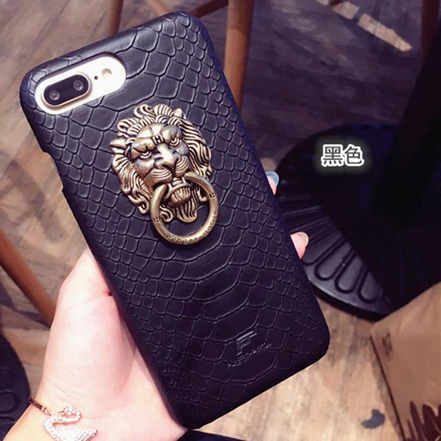 newest 1d0c8 9d9d3 Snake Skin Lion head PU Leather Hard Case For iPhone 7 6 6S Plus Phone  Fashion Protective Stand Holder Cover Back Capa lina