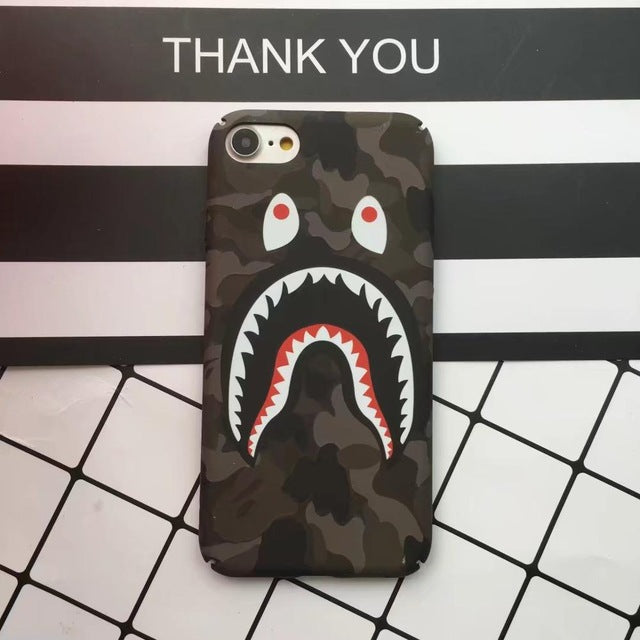 sports shoes 07151 11c9e 5Plus Luminous Bape Shark Case for iphone 6 6 Plus Coque Slim Painted Hard  PC Capa For iPhone 7 7plus 5 5S Funda Phone Back Case