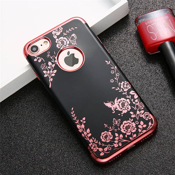 various colors 507c8 a0ba8 Fashion Flower Phone Cases For iphone 7 6 6s Plus Case Luxury Plating Soft  TPU Silicone Cover Elegant Lady Floral Butterfly Capa