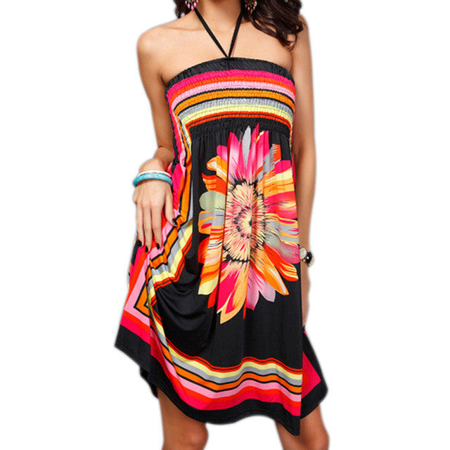 9d69535f8d ... Sexy Women Summer Beach Dress Casual Strapless Floral Print Bohemian  Dresses Sundress JL ...