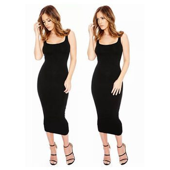 5 Colors Fashion New Women Dress Sheath Sexy Soild Sleeveless O-Neck Spaghetti Strap Casual Long Dress Summer Female Clothing