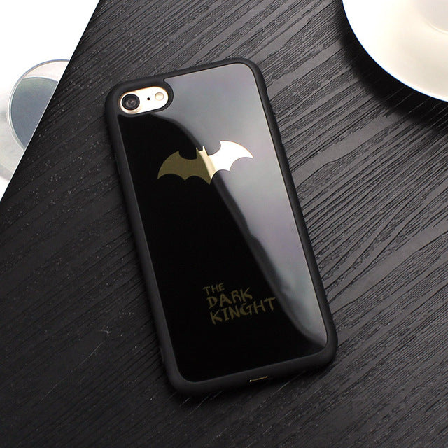 pretty nice 43db4 7b605 JAMULAR Case For iPhone X 8 7 Plus 6 6s Batman Silicone Cover For iPhone 7  6s Plus Mirror Phone Covers For iPhone 6S Plus Cases