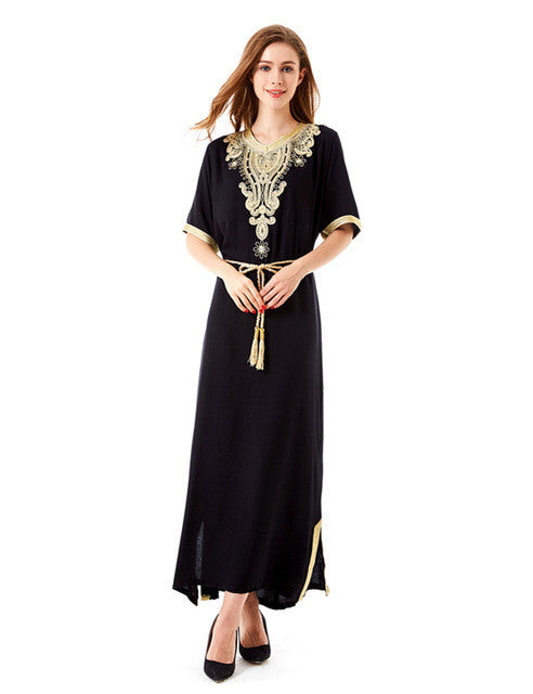 f9248163296 Muslim women Long sleeve Tunic Dress maxi abaya islamic women vintage –  Intel Retro