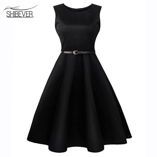 SHIBEVER Women Dresses Printing Sleeveless Summer Dress Fashion Casual O-neck  Women Ball Gown office Dress for women 2017 LD08