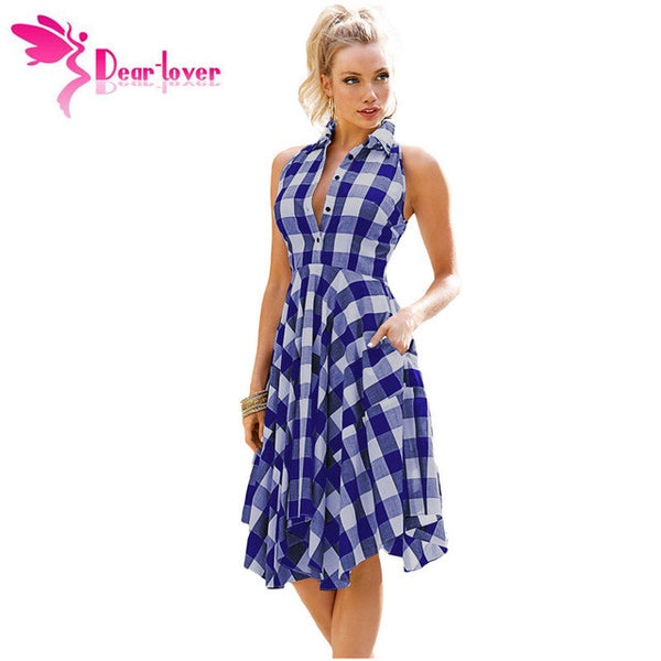Dear-Lover plaid dresses Fashion Casual Summer Office Ladies Blue/Black White Gray Checks Flared Shirt Dress Robes Femme LC61513