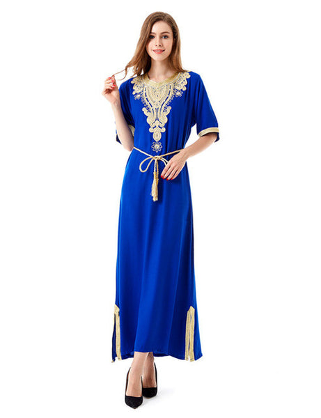 Muslim women Long sleeve Tunic Dress maxi abaya islamic women vintage dress clothing robe kaftan caftan Moroccan embroidey1605